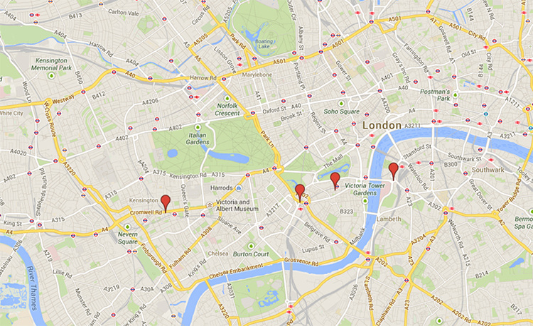 Map of London with hotel pins